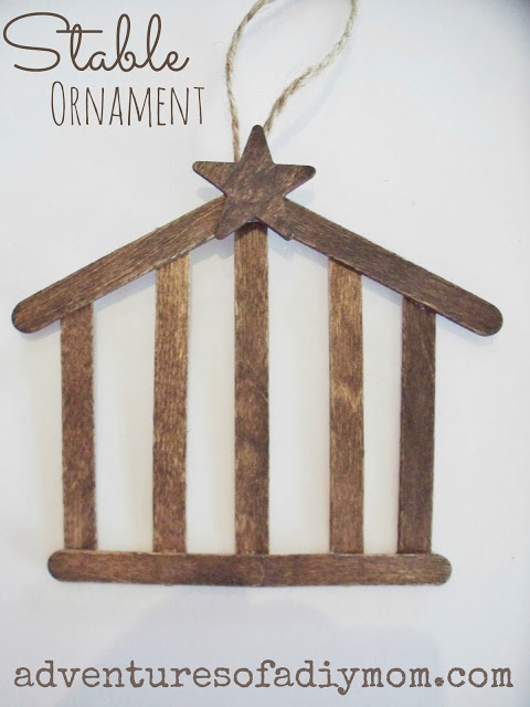 Stable Craft Stick Ornament found on Adventures of a DIY Mom