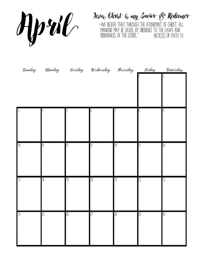 2016 Primary Calendar Set - April