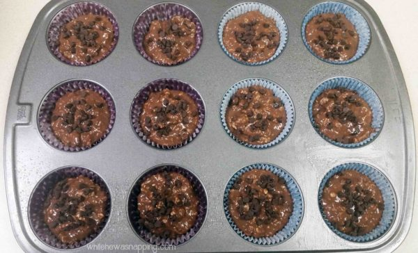 Cranberry Chocolate Muffins made with Carnation Breakfast Essentials Garnished with Chocolate Chips