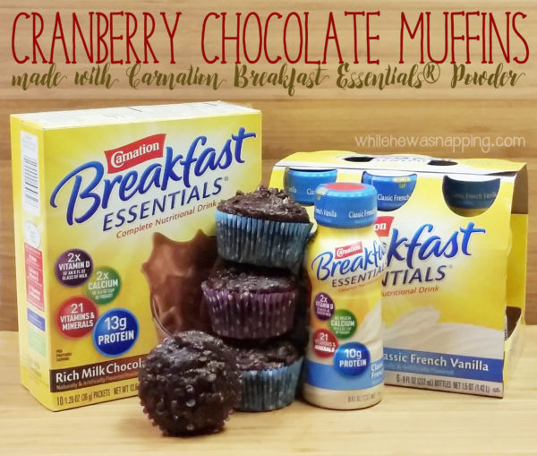 Cranberry Chocolate Muffins made with Carnation Breakfast Essentials Hero