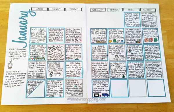 Jan 2016 Journal Calendar