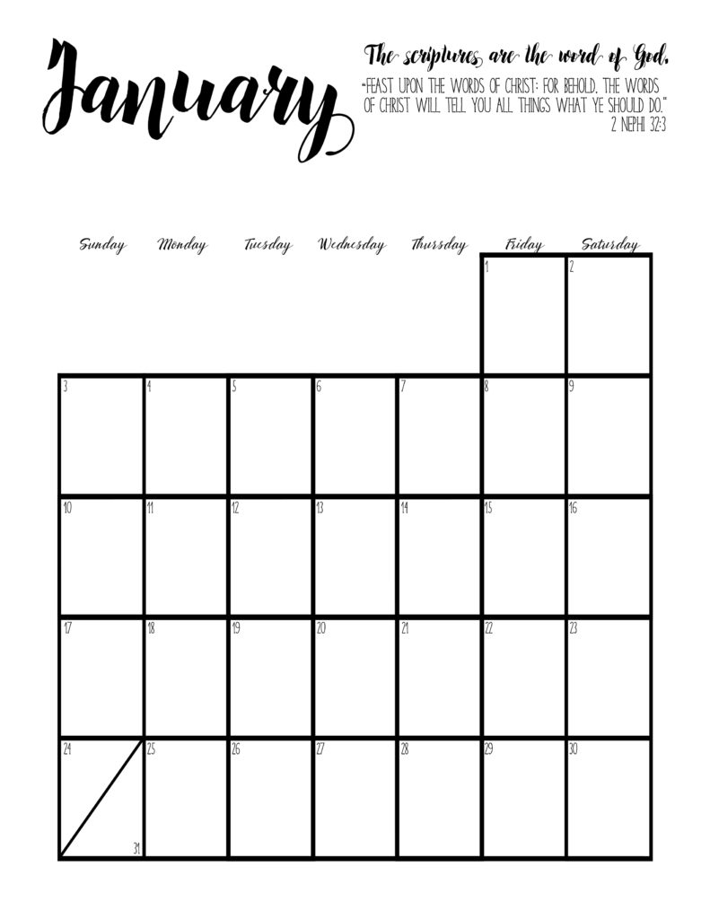 January 2016 Calendar With Scripture | Calendar Template 2016