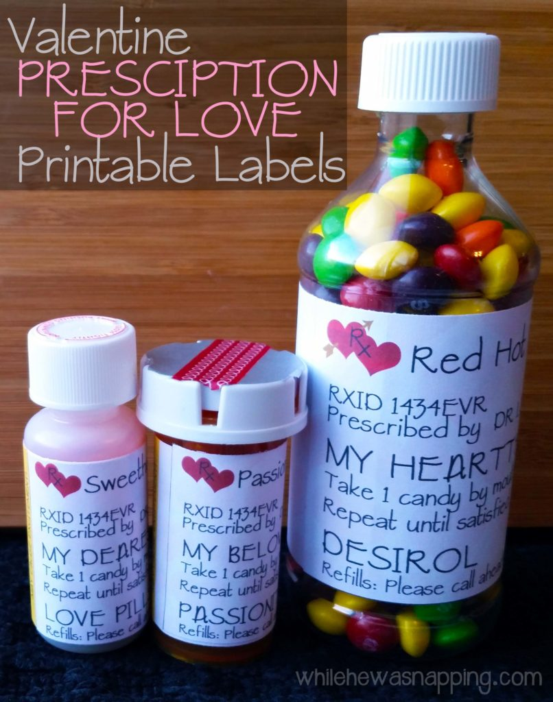 Valentine's Day Prescription for Love Printable Labels