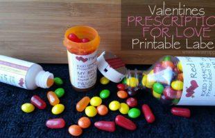 Valentine Prescription for Love Printable Labels