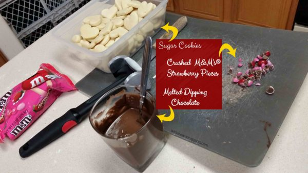 Chocolate Dipped Strawberry Sugar Cookies - dipping materials