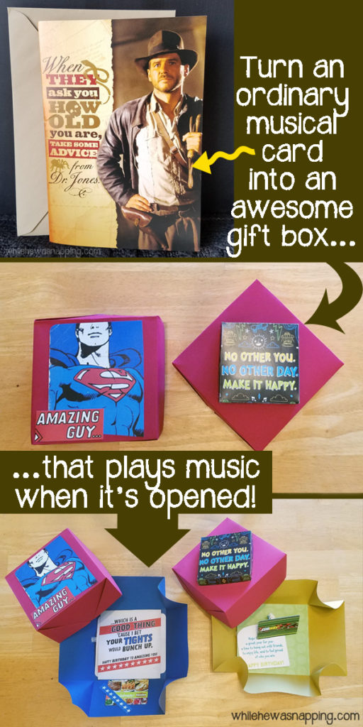 Hallmark Song Card DIY Musical Explosion Boxes turn a card into a gift box