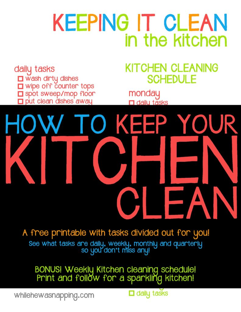 Get Your Printable Kitchen Cleaning Schedule with tasks broken down and a BONUS cleaning schedule!