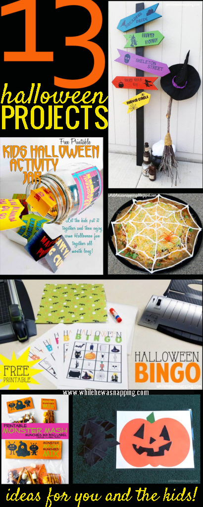 13 Halloween Projects for you and the kids to try this October. Home decor, crafts, spooky eats, printables, and kids activities! There's a little something for everyone!