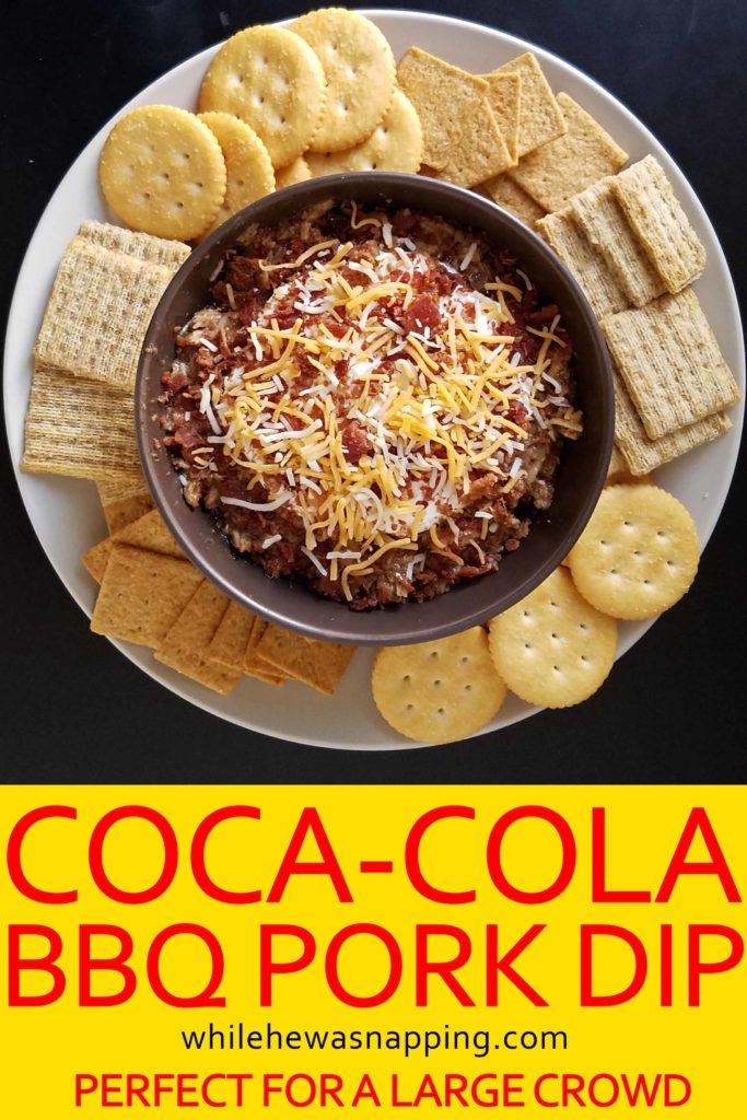 Coca-Cola BBQ Pork Dip served with TRISCUIT RITZ and Wheat Thins crackers on While He Was Napping