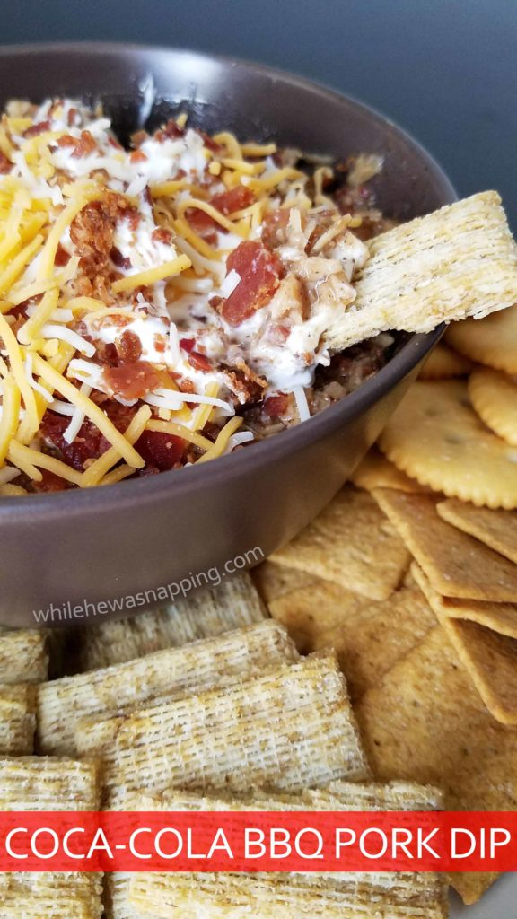 Coca-Cola BBQ Pork Dip with TRISCUIT RITZ and Wheat Thins on While He Was Napping
