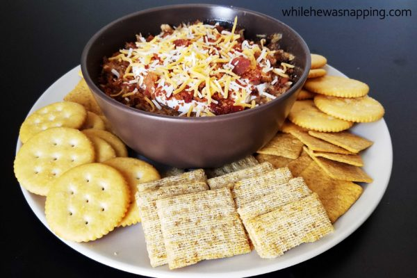 Coca-Cola BBQ Pork Dip with crackers on While He Was Napping