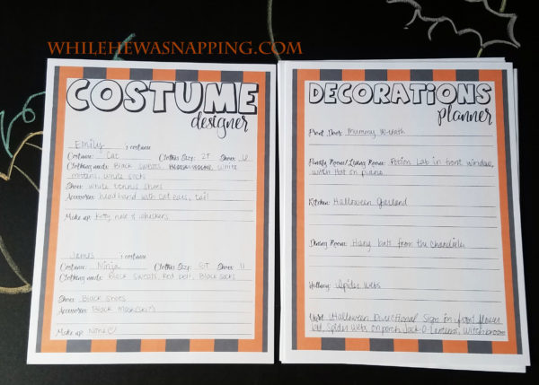 halloween planner costume designer decor planner