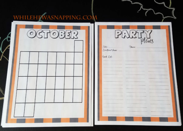 halloween planner party guests calendar