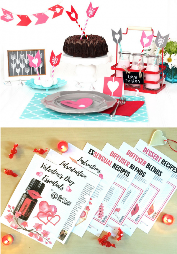 Valentines Day Dinner Printables and Essential Oil Recipes