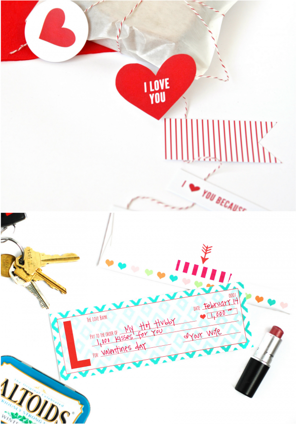 Valentines Day Lunch and Printable Love Checks