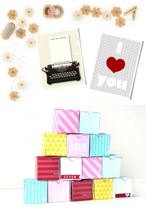 Valentines Day Printable Cards and Advent Boxes