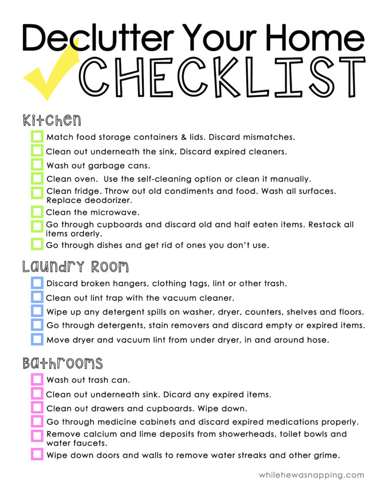 Declutter Your Home Cleaning Checklist