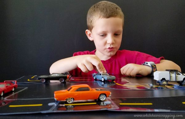 Play time with this DIY Printable Race Track Road and Fast & Furious die cast cars