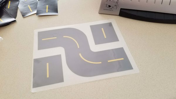 Printable Race Track Road Track Pieces in Laminating Pouches