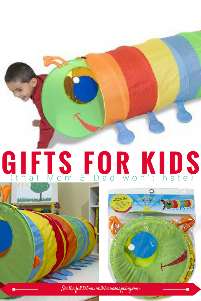 This activity tunnel is a perfect gift for Kids that Mom & Dad won't hate! Get rid of that pent-up energy inside with this fun toy that folds up super compact for easy storage!