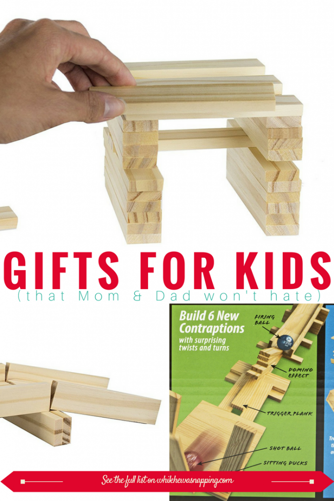 Keva Blocks make great gifts for Kids that Mom & Dad won't hate! These blocks encourage engineering and explore basic weight, balance and construction principles while also allowing for creative free play!
