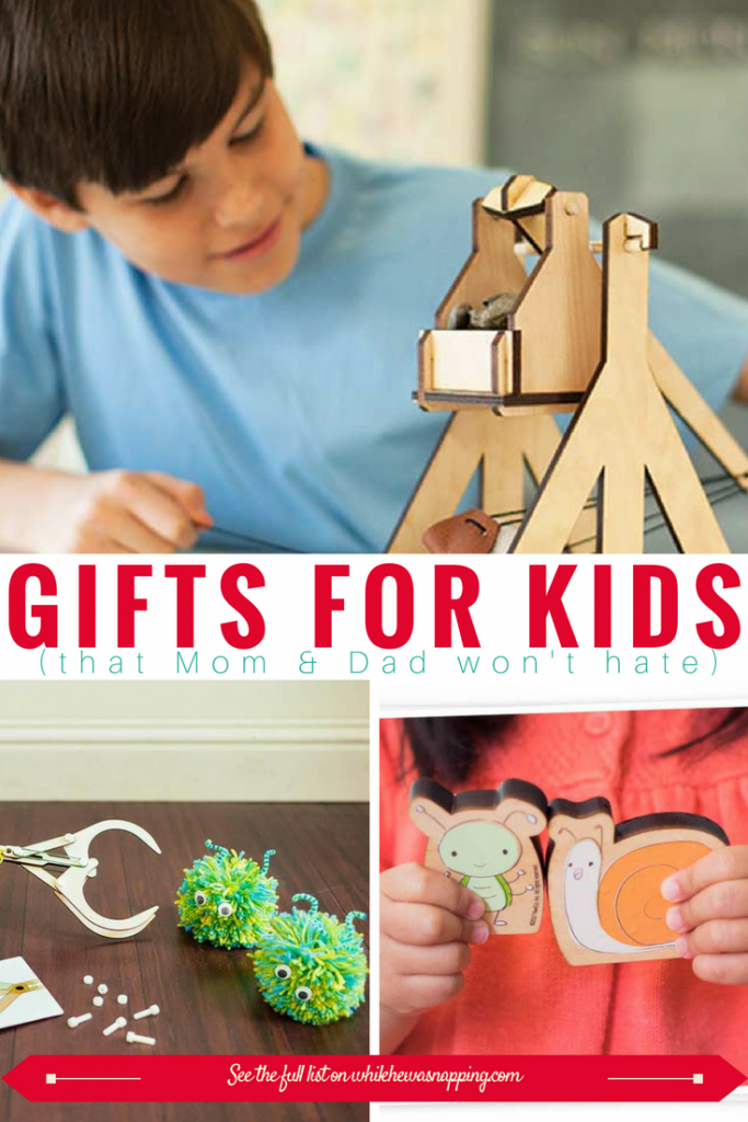 Kiwi Crate Subscription boxes make great gifts for Kids that Mom & Dad won't hate! Once a month kids get a fun, age-appropriate project and all the materials to create it. Projects encourage STEAM exploration and learning.