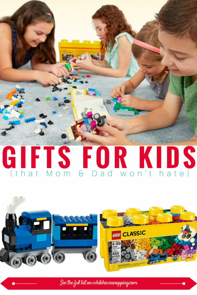 Gifts for Kids that Mom & Dad won't hate. Lego bricks are perfect for a variety of ages!