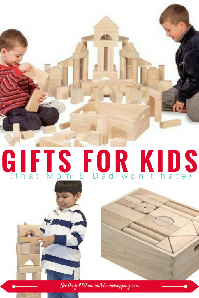 Wooden Blocks make a great gift for Kids that Mom & Dad won't hate! So many possibilities with these blocks. Perfectly sized for little hands and easy to build with. Great for towers and imaginative play with other toys too!