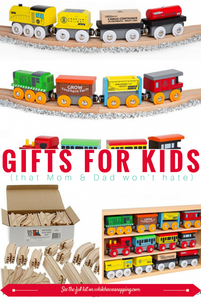 Wooden Trains make great gifts for Kids that Mom & Dad won't hate. Perfect for a variety of ages and encourages creativity every time you play!