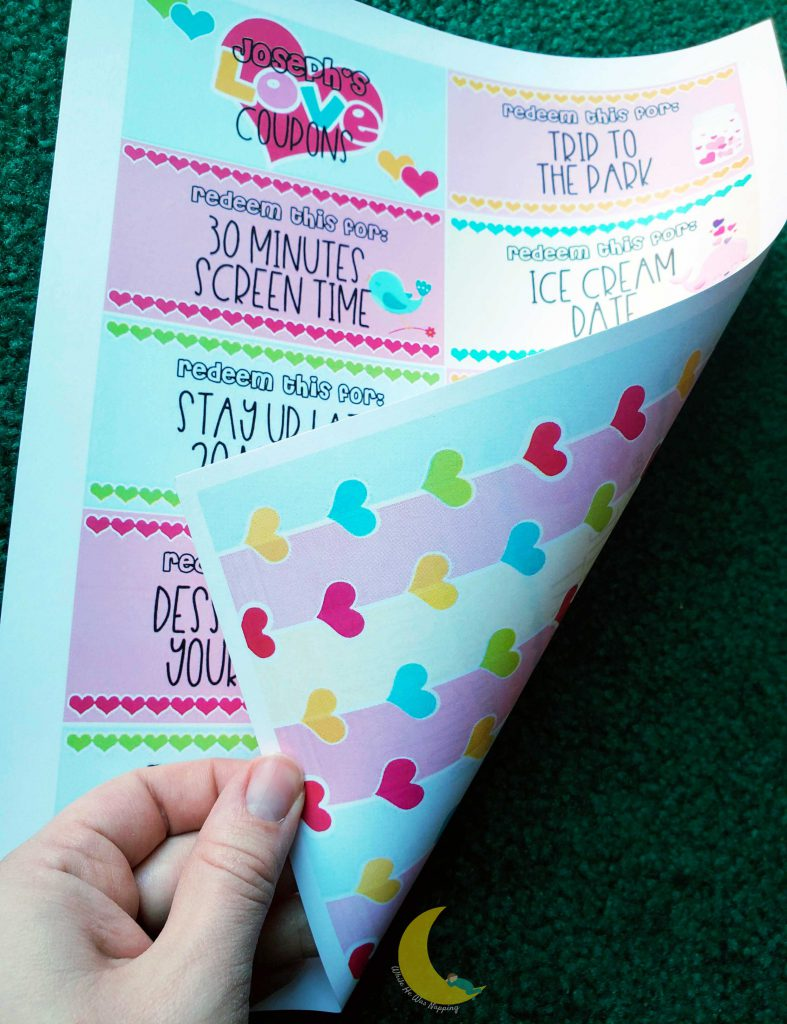 Kids Valentine Love Coupons Double Sided Printable